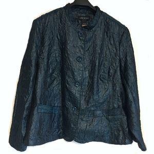Lane Bryant Blazer Jacket Blue Crinkle Plus 26 28